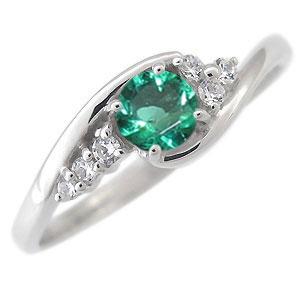 エメラルド 婚約指輪 一粒 エンゲージリング 18金