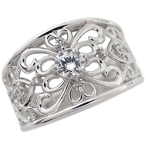 【10%OFF】4日20時~ 指輪・ダイヤモンド・リング・一粒・18金・ダイヤモンドリング・0.3ct・唐草・リング