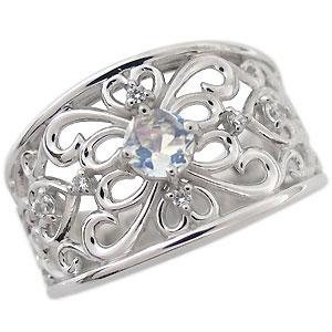 プラチナ エンゲージリング 一粒 ロイヤルブルームーンストーン エンゲージリング 婚約指輪 唐草