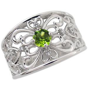 プラチナ エンゲージリング 一粒 ペリドット エンゲージリング 婚約指輪 唐草
