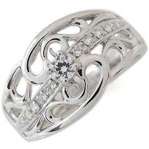 【10%OFF】1月1日00:00~ ダイヤモンド・指輪・4月誕生石・0.1カラット・一粒・リング・18金・唐草・リング