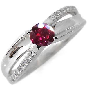 プラチナ エンゲージリング 婚約指輪 一粒 ルビー 7月誕生石