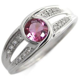 大粒 ピンクトルマリン エンゲージリング 婚約指輪 10月誕生石 一粒 10金