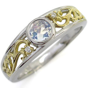 21日20時~プラチナ 18金 コンビ リング 一粒 ロイヤルブルームーンストーン 指輪