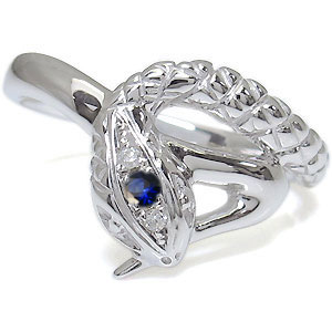 送料無料 スネーク メンズリング サファイア 18金 ヘビ 指輪 サファイア・メンズリング・スネーク・指輪・18金・蛇