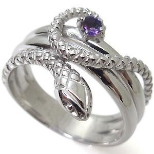 メンズリング・選べる誕生石・スネーク・18金・ヘビ・指輪・蛇