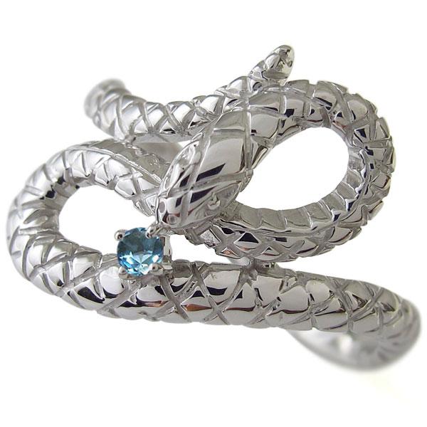 送料無料 プラチナ 蛇 スネーク メンズ 指輪 ブルートパーズ リング プラチナ・蛇・スネーク・メンズ・指輪・ブルートパーズ・リング