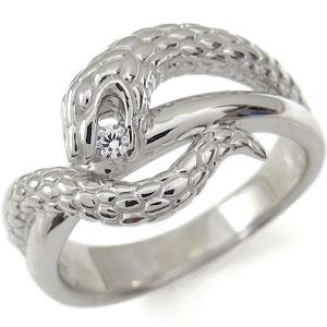 ダイヤモンド 10金 蛇 ヘビ リング スネーク リング