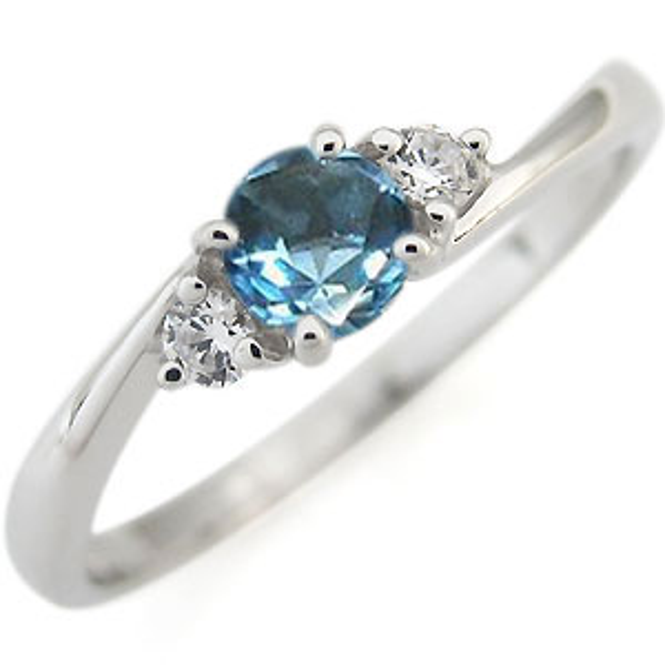 プラチナ エンゲージリング ブルートパーズ 婚約指輪 一粒 シンプル リング