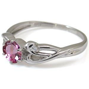 ピンクトルマリン エンゲージリング 10月誕生石 18金 大粒 ピンクトルマリン 婚約指輪D9WEH2YI