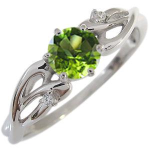 ペリドット エンゲージリング 8月誕生石 18金 大粒 ペリドット 婚約指輪