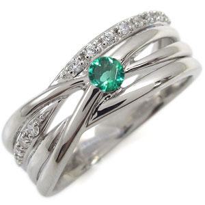 エメラルド・リング・5月誕生石・一粒・10金・指輪・レディース・太め 母の日 プレゼント