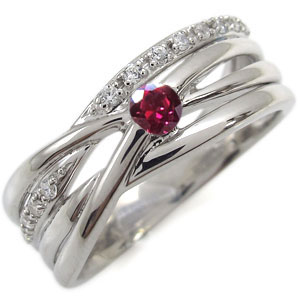 プラチナ エンゲージリング ルビー 婚約指輪 一粒 リング
