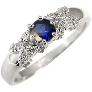 サファイアリング K10 婚約指輪 一粒 サファイア