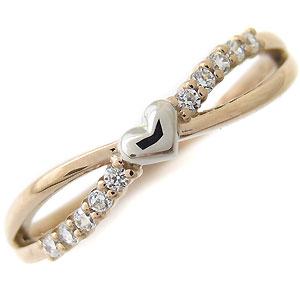 ダイヤモンド リング ピンキーリング コンビ ハート 指輪