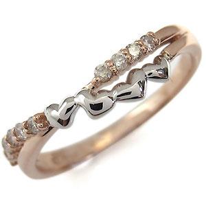 ダイヤモンド リング 結婚10周年 コンビ 指輪 ハート リング