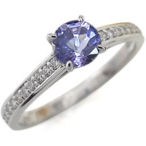 プラチナ ハーフエタニティ 婚約指輪 タンザナイト リング
