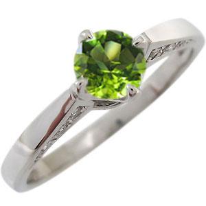 ペリドット リング K18 一粒 指輪 ペリドットリング