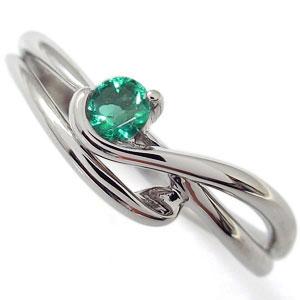 シンプル リング 指輪 エメラルド エレガント K10
