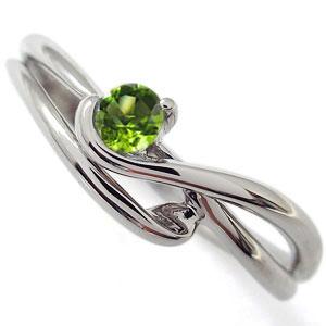 シンプル リング 指輪 ペリドット エレガント K10