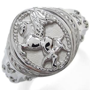 送料無料 ダイヤモンド メンズ リング 馬 ペガサス 指輪 K18 ダイヤモンド メンズ リング 馬 ペガサス 指輪 K18