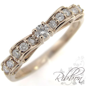 ダイヤモンド 指輪 リボン ダイヤモンドリング K18 リング