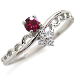 プラチナ ルビー エンゲージリング レース 婚約指輪 ピンキーリング