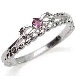 プラチナ ピンキーリング リボン 指輪 ピンクトルマリン ロープ