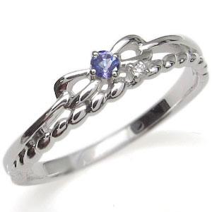 プラチナ ピンキーリング リボン 指輪 タンザナイト ロープ