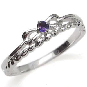 プラチナ ピンキーリング リボン 指輪 アメジスト ロープ