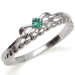 プラチナ ピンキーリング リボン 指輪 エメラルド ロープ