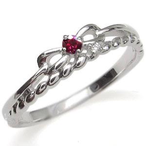 プラチナ ピンキーリング リボン 指輪 ルビー ロープ