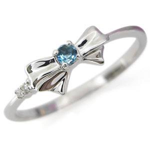 9/11 1:59迄誕生石 リング ブルートパーズ リボンリング K18 指輪
