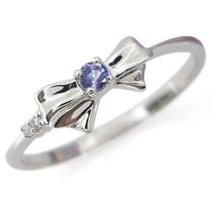 【10%OFF】4日20時~ 誕生石 リング タンザナイト リボンリング K18 指輪