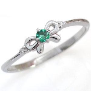 9日20時~ リボンリング・エメラルド・誕生石・ピンキーリング・ファランジリング・指輪