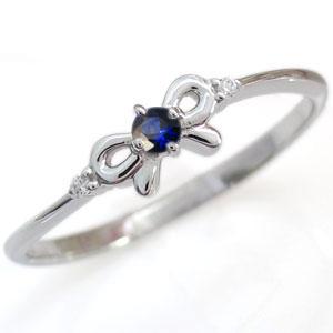 【10%OFF】4日20時~ リボンリング・サファイア・誕生石・ピンキーリング・指輪