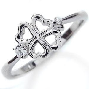 プラチナ・ピンキーリング・ダイヤモンド・クローバー・リング・指輪