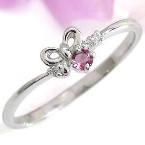 【10%OFF】4日20時~ リボンリング・ピンクトルマリン・誕生石・ピンキーリング・指輪