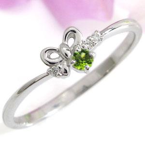 リボン リング 誕生石 指輪 K10 ピンキーリング