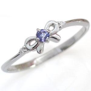 9/11 1:59迄プラチナ リボン リング 天然石 タンザナイト 指輪