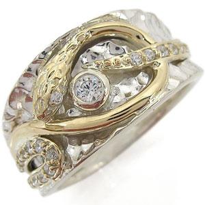 3/20限定AM10時~ プラチナ ダイヤモンド 指輪 スネークリング メンズ 蛇 リング