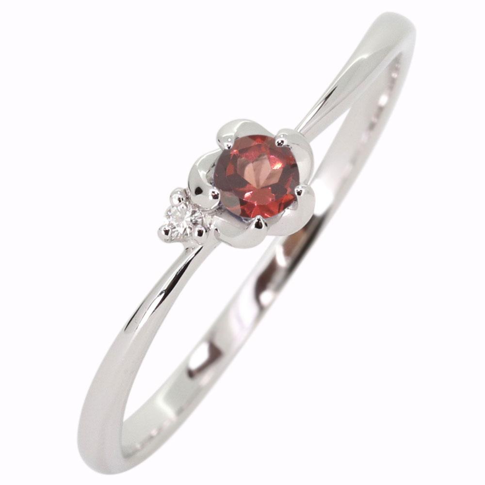 プラチナ 花 ガーネット 指輪 フラワーリング
