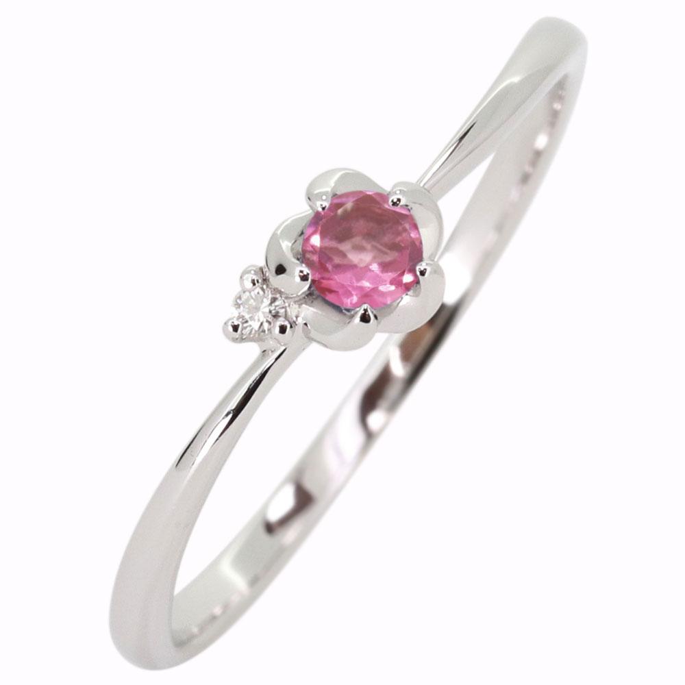 プラチナ 花 ピンクトルマリン 指輪 フラワーリング