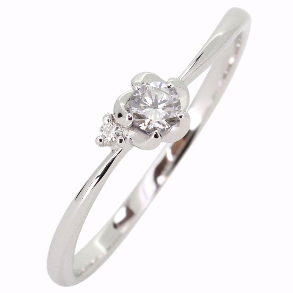 プラチナ 花 ダイヤモンド 指輪 フラワーリング
