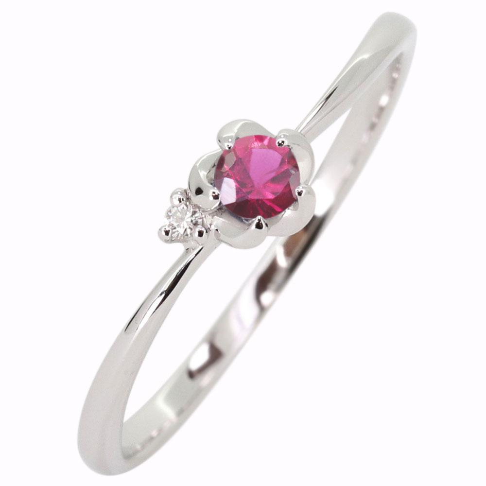 プラチナ 花 ルビー 指輪 フラワーリング