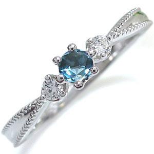 プラチナ 王冠 エンゲージリング ブルートパーズ 王冠 婚約指輪