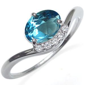 プラチナ ブルートパーズ リング 大粒 指輪