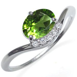 プラチナ ペリドット リング 大粒 指輪