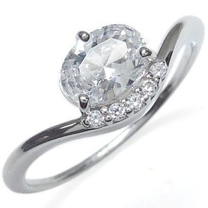 プラチナ キュービックジルコニア リング 大粒 指輪
