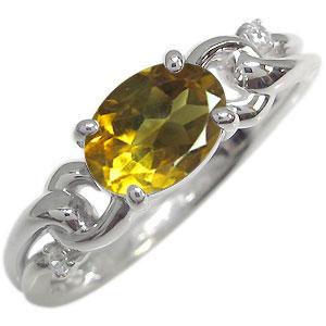 プラチナ オーバル リング シトリン 大粒 指輪